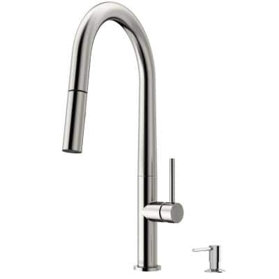 Greenwich Single-Handle Pull-Down Sprayer Kitchen Faucet with Bolton Soap Dispenser in Stainless Steel