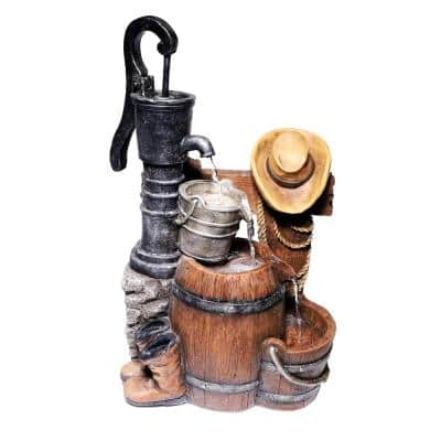 26 in. Tall Outdoor Vintage Pump and Barrel with Cowboy Hat Waterfall Fountain Yard Art Decor