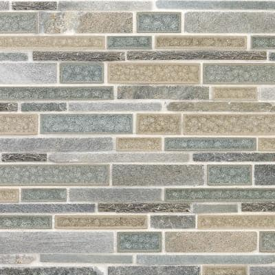 Olive Branch Green 11-3/4 in. x 11-3/4 in. x 10 mm Quartz Glass and Stone Mosaic Tile