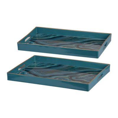 Effra Rectangular Blue Trays (Set of 2)