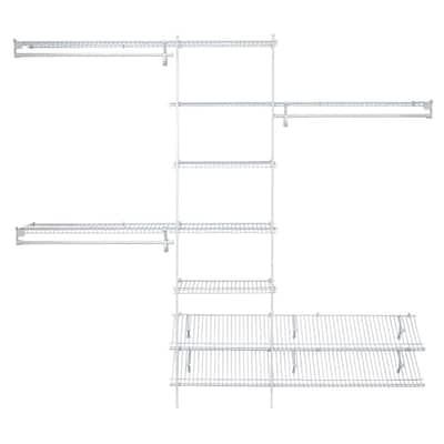 SuperSlide 5 ft. to 8 ft. 12.9 in. D x 96 in. W x 86.3 in. H White Ventilated Wire Steel Closet System Organizer Kit