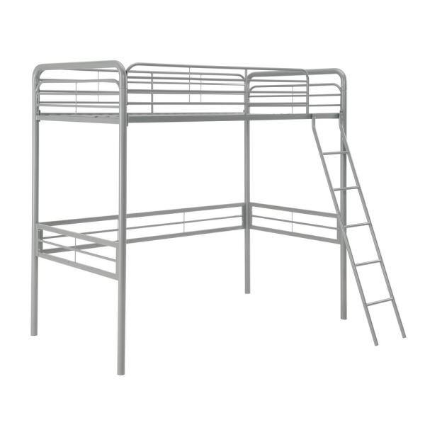 DHP Olivia Silver Twin Metal Loft Bed | The Home Depot