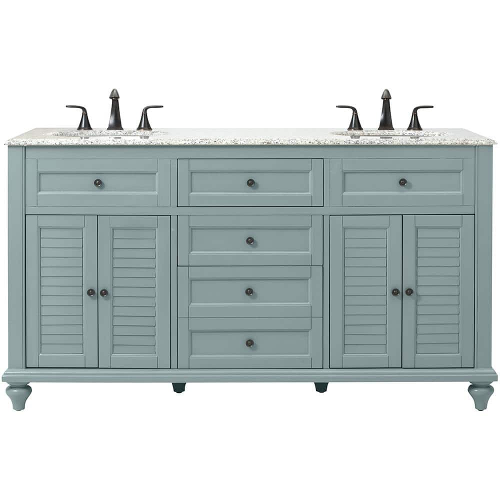 Home Decorators Collection Hamilton Shutter 61 In W X 22 D Double Bath Vanity Sea Glass With Granite Top Grey White Sink 10806 Vs61h Sg The Depot