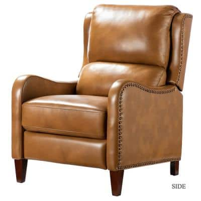Hyde Camel Nailhead Genuine Leather Recliner