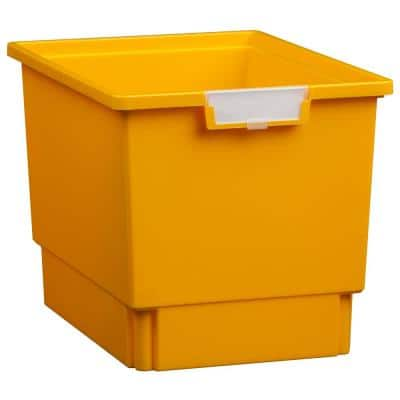 7.5 Gal. 12 in. Slim Line Quad Depth Storage Tote in Primary Yellow