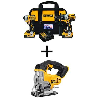 20-Volt MAX XR Li-Ion Cordless Brushless Hammer Drill/Impact Combo Kit (2-Tool) with Bare 20-V Li-Ion Cordless Jig Saw
