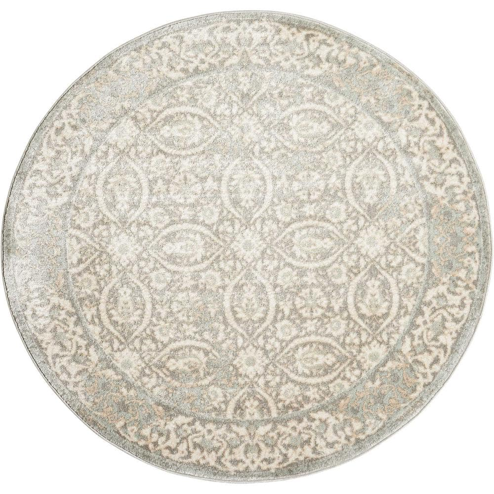 Nourison Euphoria Grey 8 Ft X 8 Ft Geometric Traditional Round Area Rug 025623 The Home Depot