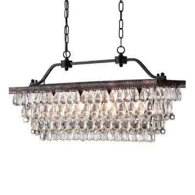 Chiara 4-Light Antique Bronze Rectangular Chandelier with Crystal Shade