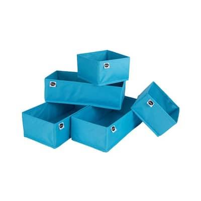4.25 in. x 6.5 in. x 13.25 in. Blue Fabric Closet Drawer Organizer