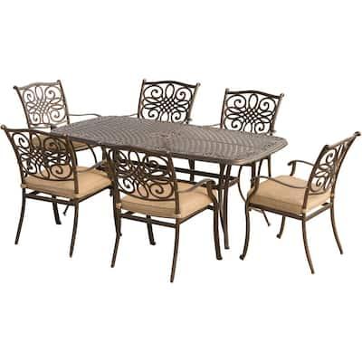 Seasons 7-Piece Aluminum Outdoor Dining Set with Tan Cushions