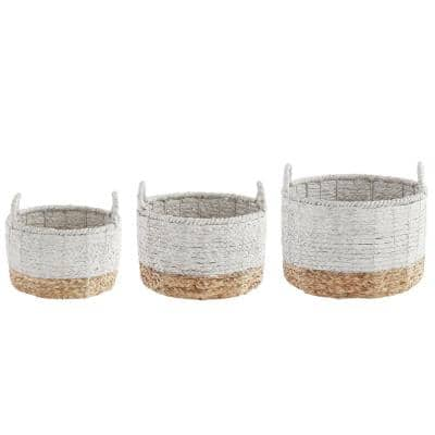 Round White and Natural Braided Decorative Baskets (Set of 3)