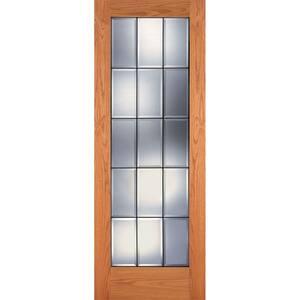 32 in. x 80 in. 15 Lite Unfinished Oak Clear Bevel Patina Woodgrain Interior Door Slab
