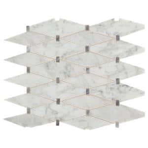 Premier Accents Eclipse Gray Diamond 11 in. x 15 in. x 8 mm Stone Mosaic Floor and Wall Tile (0.94 sq. ft./Each)