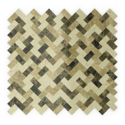 Trail Mix Mixed Browns 12.09 in. x 11.65 in. x 5 mm Stone Self Adhesive Wall Mosaic Tile (11.69 sq. ft. /case)