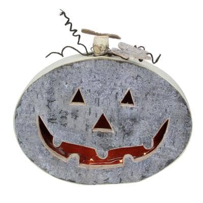 10.5 in. Halloween Gray LED Battery Operated Jack-O-Lantern Table Top Decoration