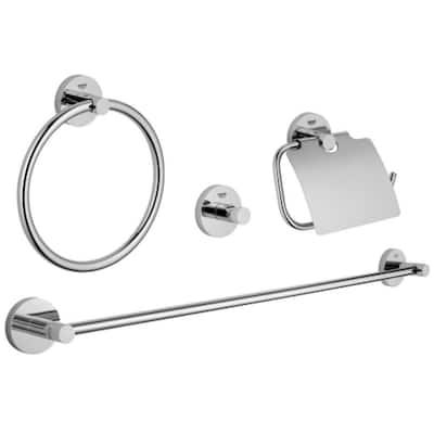 Essentials Master Bathroom 4-Piece Bath Hardware Set in StarLight Chrome