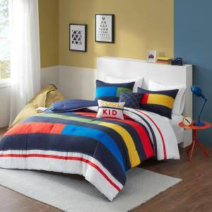 Emmett 4-Piece Multi Twin Stripe Printed Comforter Set
