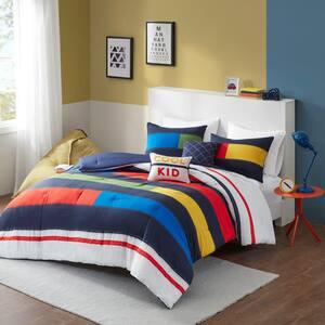 Emmett 5-Piece Multi Full/Queen Stripe Printed Comforter Set