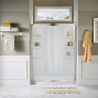 Ovation 48 in. x 72 in. Semi-Frameless Sliding Shower Door in Satin Nickel and Clear Glass