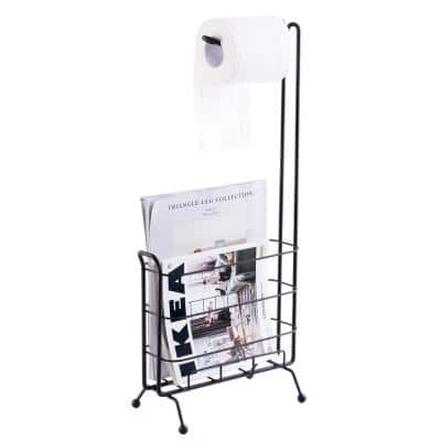 Metal Toilet Paper Holder with Magazine Rack in Black