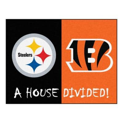 NFL Steelers / Bengals Black House Divided 3 ft. x 4 ft. Area Rug