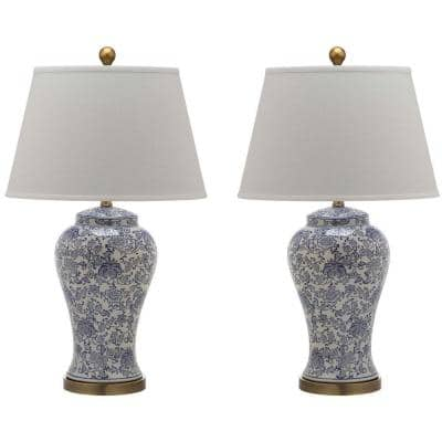 Spring Blossom 29 in. Navy/White Multi Floral Ceramic Urn Table Lamp with Off-White Shade (Set of 2)
