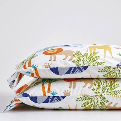 Jungle Animals Multicolored 200-Thread Count Organic Cotton Percale Standard Pillowcase (Set of 2)