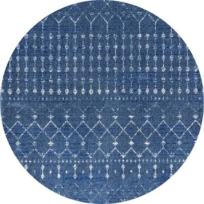 Blythe Modern Moroccan Trellis Dark Blue 6 ft. Round Rug