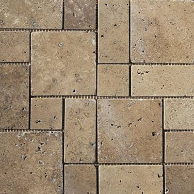 Trav Ancient Tumbled Mocha 11.42 in. x 11.42 in. x 10 mm Travertine Mesh-Mounted Mosaic Tile (1 sq. ft.)