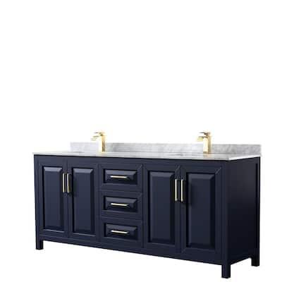 Daria 80 in. Double Bathroom Vanity in Dark Blue with Marble Vanity Top in White Carrara with White Basins