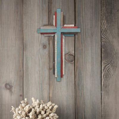 8.5 in. x 14 in. Multicolor 3D Wooden Wall Cross