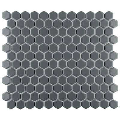 Metro Hex 11-3/4 in. x 10-1/4 in. x 6mm Matte Grey Porcelain Mosaic Tile (8.56 sq. ft. / case)