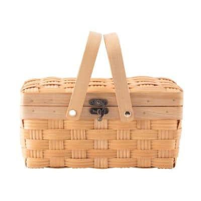 Small Woodchip Wooden Picnic Basket with Cover and Folding Handles