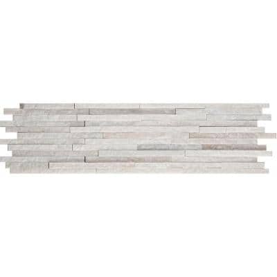 White Mini Stacked 6 in. x 24 in. Quartzite Slate Floor and Wall Tile