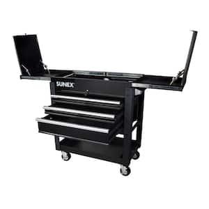 37 in. 3-Drawer Slide Top Utility Cart in Black