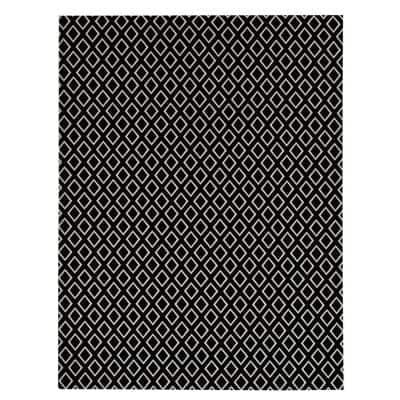 Printed Diamond Black/White 6 ft. x 8 ft. Indoor/Outdoor Area Rug