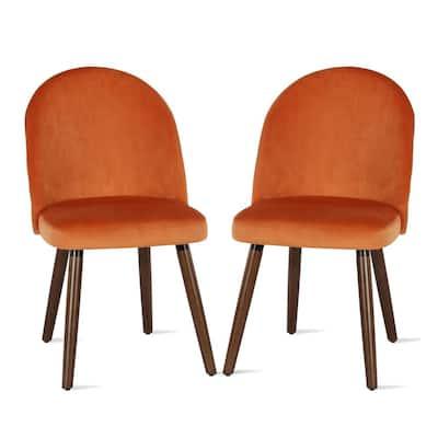 Burma Orange Upholstered Wood Leg Dining Chair (2-Pack)