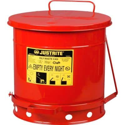 10 Gal. Red Steel Waste Container with Step On Lid