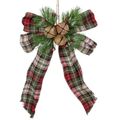 10 in. H x 7 in. W Red Green and Beige Plaid Bow Hanging Christmas Decoration
