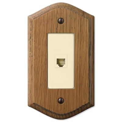 Country 1 Gang Phone Wood Wall Plate - Medium Oak
