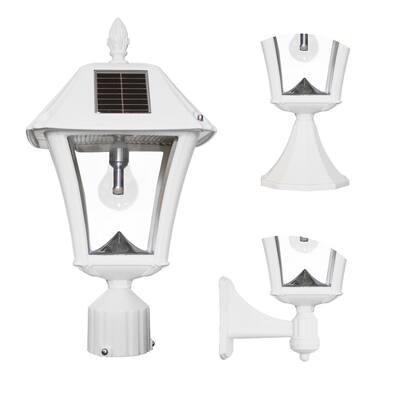 Baytown II Bulb 1-Light White LED Outdoor Solar Post/Wall Light with GS Light Bulb, Warm-White