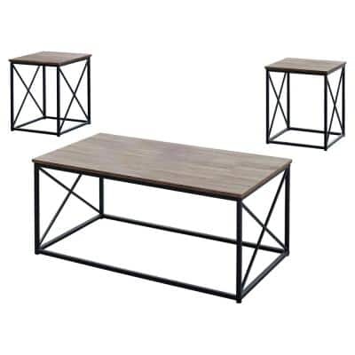 3-Piece 43 in. Dark Taupe Large Rectangle Wood Coffee Table Set