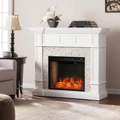 Imogen Alexa-Enabled 45.75 in. Convertible Smart Fireplace in White with Faux Stone