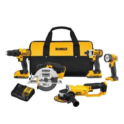 20-Volt MAX Cordless Combo Kit (5-Tool) with (2) 20-Volt 2.0Ah Batteries & Charger