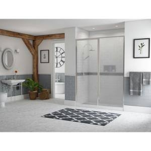 Legend 40.5 in. to 42 in. x 66 in. Framed Hinge Swing Shower Door with Inline Panel in Chrome with Obscure Glass