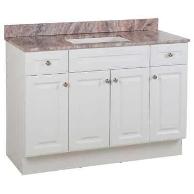 Glensford 49 in. W x 22 in. D Bathroom Vanity in White with Stone Effects Vanity Top in Cold Fusion with White Sink