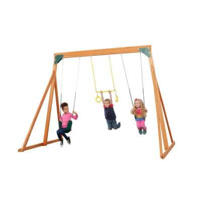 Trailside Complete Wooden Swingset in Multi-Color (Choose from 7 Color Options)