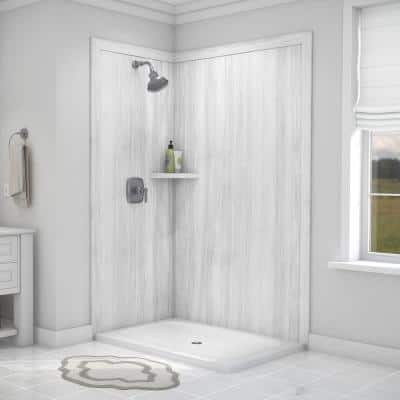 Elegance 36 in. x 48 in. x 80 in. 7-Piece Easy Up Adhesive Corner Shower Wall Surround in Calypso