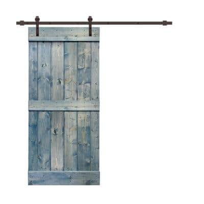 Mid-bar Series 30 in. x 84 in. Pre-Assembled Denim Blue Stained Wood Interior Sliding Barn Door with Hardware Kit