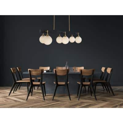 Kennedy 35 in. 6-Light Black and Gold Island Chandelier with Frosted Globes